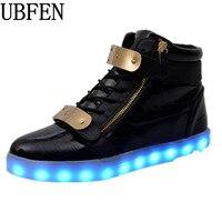 Men Shoes 7 Colors LED Luminous High top casual shoes LED Shoes for Adults recharge Lights fashion  neon basket Male shoes