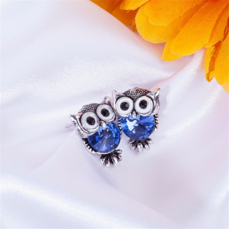 New Design Crystal Women Charms Owl Stud Earrings Cute Colors Fashion Ruby Jewelry White Gold Plated Trendy For Wedding HFNE099
