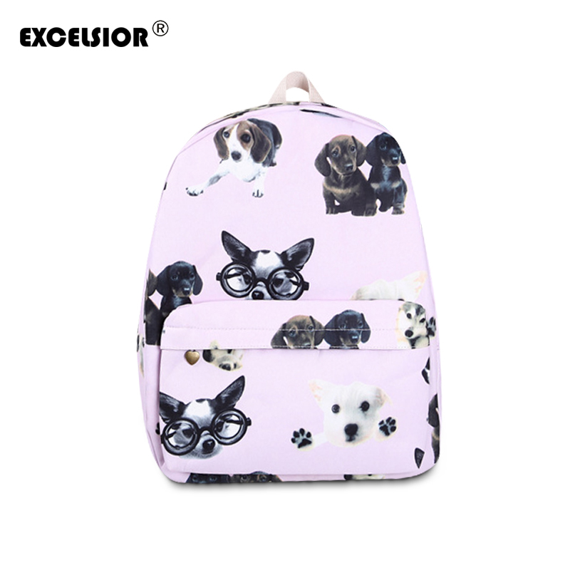 EXCELSIOR mochilas mujer 2017 Cute dog Printing Backpacks Canvas School Backpack Bags for Teenage Girls Rucksack Travel Daypack kpop graffiti printing backpack city night scene large capacity travel student backpack school bags rucksack backpack mochilas