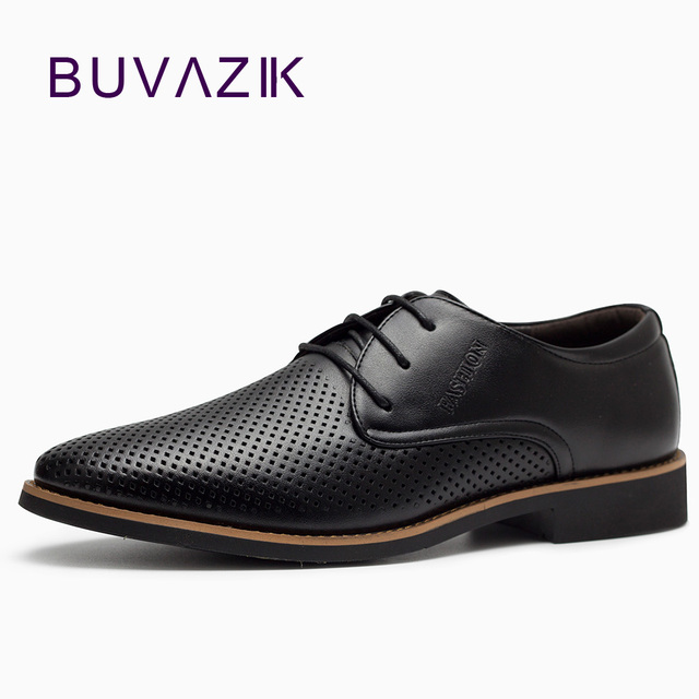 18 Men Shoes Breathable Lace Up Stylish Casual Leather Hollow Leisure Black US 8