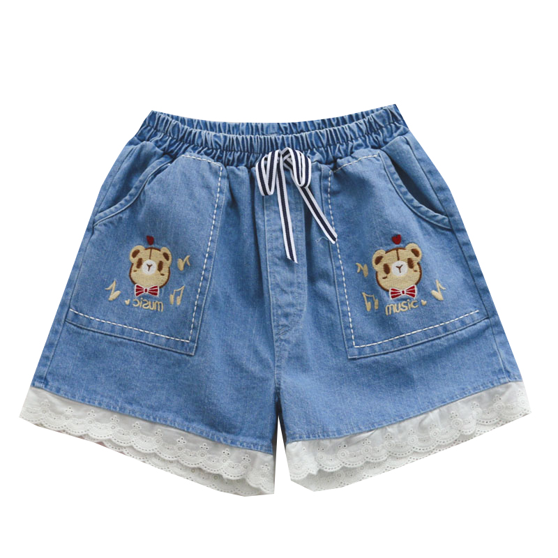 Summer New Mori Girl Sweet Lolita Cute Bear Pattern Lace Trim Jeans Shorts Japanese Kawaii Young Girl Patchwork DENIM Shorts