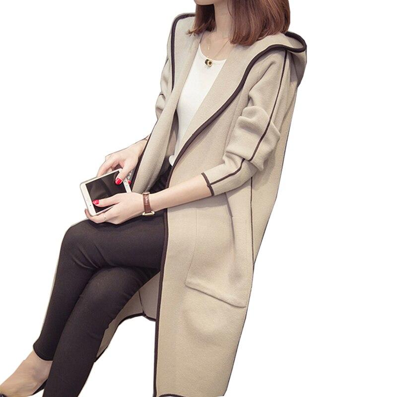 2018 New Spring Autumn Knitted Sweater Cardigan Hooded Women winter Jacket Outwear Loose Big yards joker Long Sweaters coat