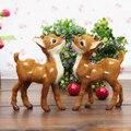 Simualtion олень игрушка пластиковые & настоящее меха модели около 14x11 см пятнистых оленей одна пара/2 шт., украшение дома Рождественский подарок w5773