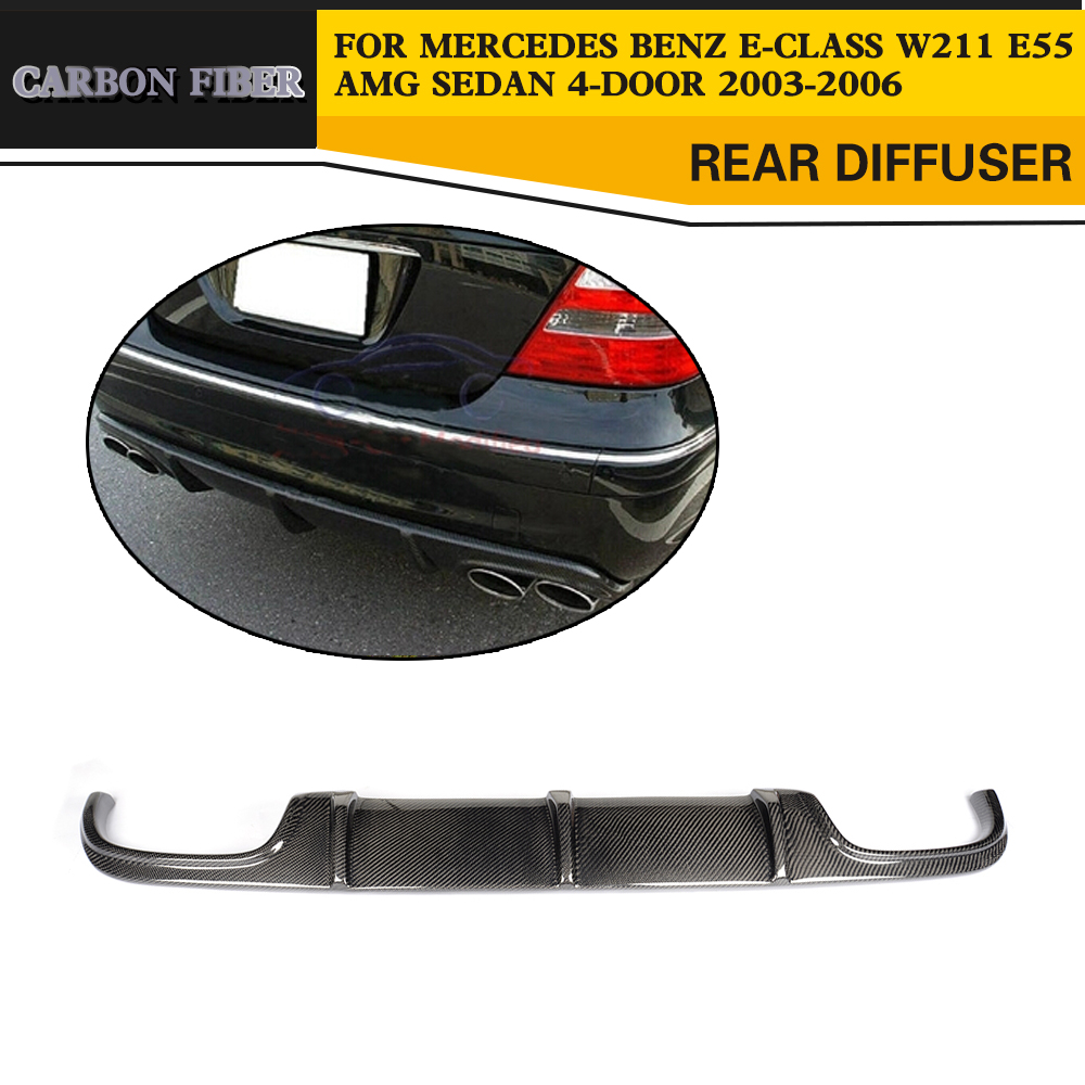 Carbon Fiber Auto Rear Diffuser Lip For Mercedes Benz W211 <font><b>E55</b></font> <font><b>AMG</b></font> Sedan 4 Door 2002-2006 image