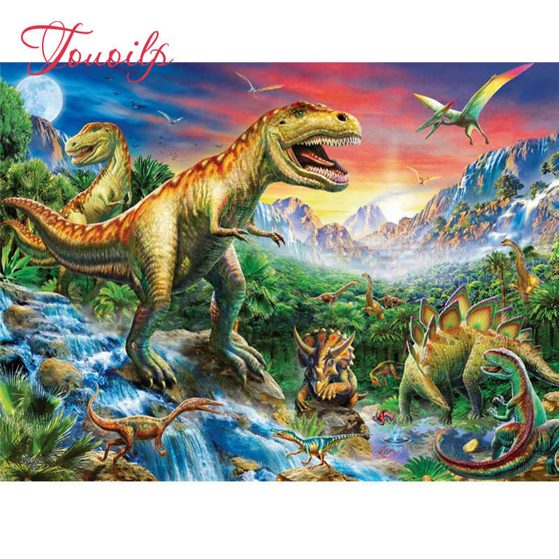 DIY 5D ภาพวาดเพชร Cross Stitch สัตว์ไดโนเสาร์ชุดโมเสคทำด้วยมือ Rhinestones วางเพชรประดับตกแต่งบ้าน