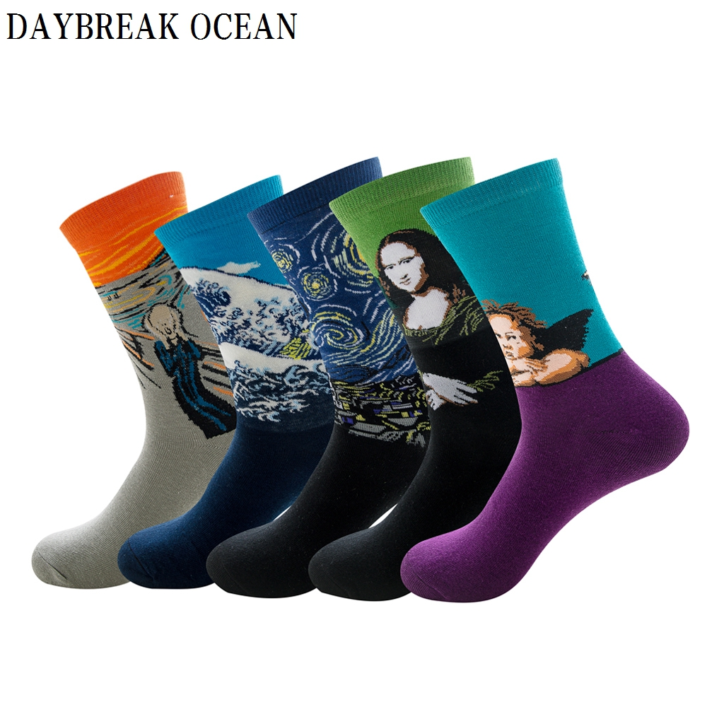 5 Pairs/Lot Mens Colorful Multi Style Combed Cotton Socks Fashion Casual Happy Funny Long Socks Spring Autumn Crew Mens Socks