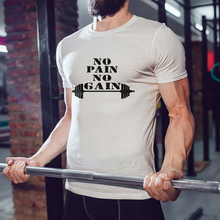 Original PSTYLE Men T Shirt No Pain Gain Slogan tshirt Short Sleeve Man T-shirt Brand Tee Tops