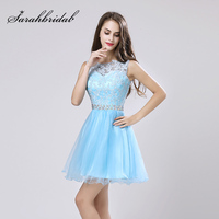Elegant Mini Cocktail Dresses For Women Evening Party With Lace Appliques Tulle Beading Sequined Open Back