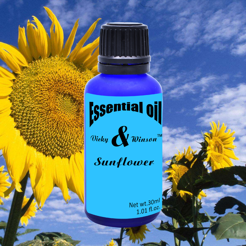 Vicky&winson Sunflower Aromatherapy Essential Oils 30ml Based Promote Human Cell Growth Massage Oil Soap Deodorization