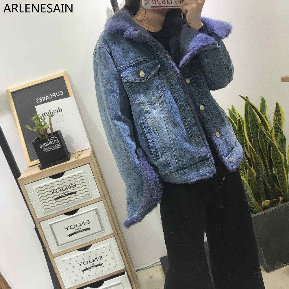 Arlenesain на заказ 2018 осень и зима новый пользовательский женская джинсовая куртка пуховая куртка импортируется из норки пальто с мехом Коротк