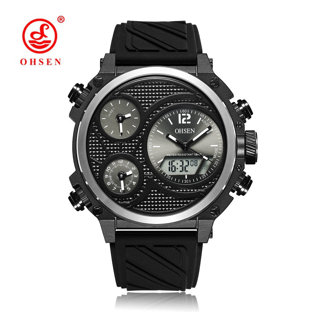 OHSEN Fashion Brand Quartz Digital Watch Man LED 50m Swim Sports Watch Men Silicone Band Military Wristwatch Relogios Masculinos in Sports Watches from Watches