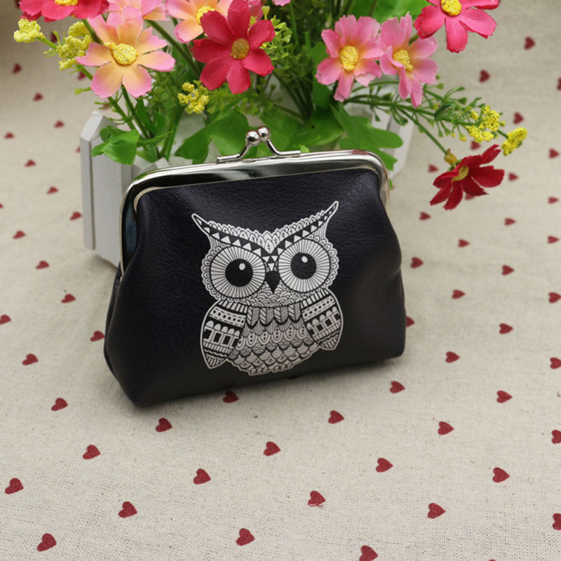 Cute Digital Printing Owl Elephant Flowers Coin Purse Pu Leather Change Pouch for Girls Small Lovely Women Bag Clutch Key Bags dachshund dog design girls small shoulder bags women creative casual clutch lattice cloth coin purse cute phone messenger bag