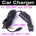 5V 2A mini USB Car Charger for DVR Camera / GPS Navigator fit 12V 24V Car & Truck, Cable Length 3.5m ( 11.48ft ) # A-3