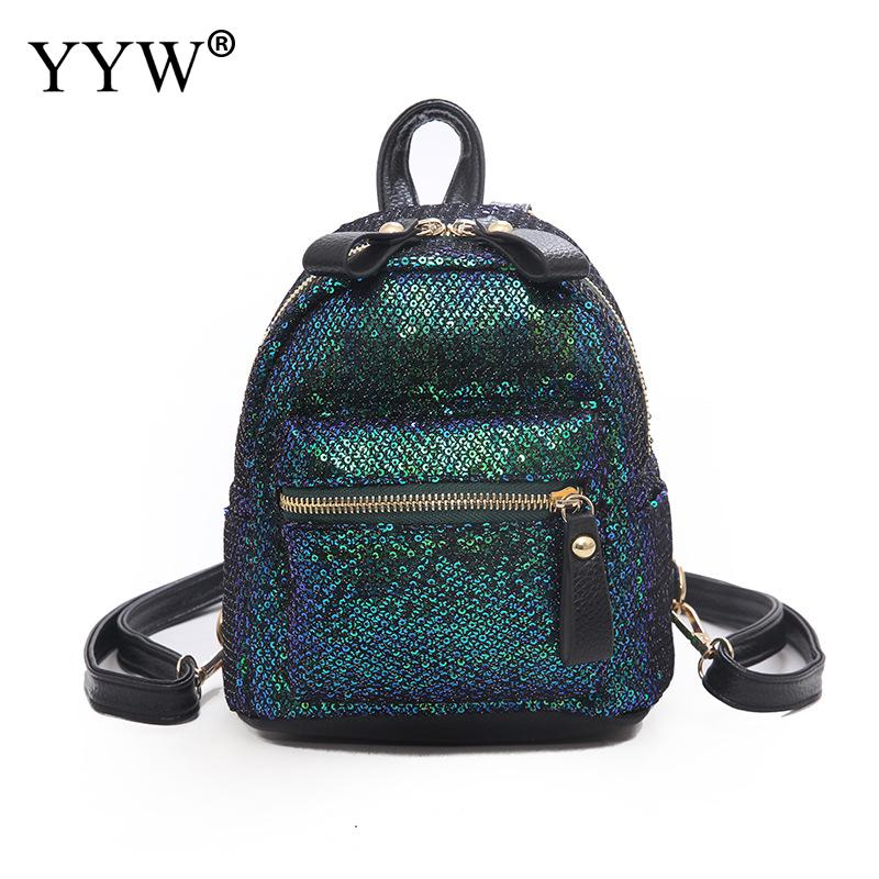 Chic Sequined Women Backpack For School Teenagers Girls 2019 Bookbag PU Leather Backpack
