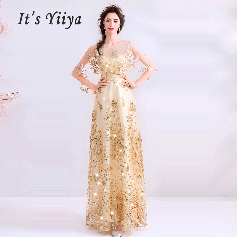 It's Yiiya Evening Dress Shining Gold Robe De Soiree 2019 Long Plus Size Women Party Dresses Half-sleeve Evening Gowns E644