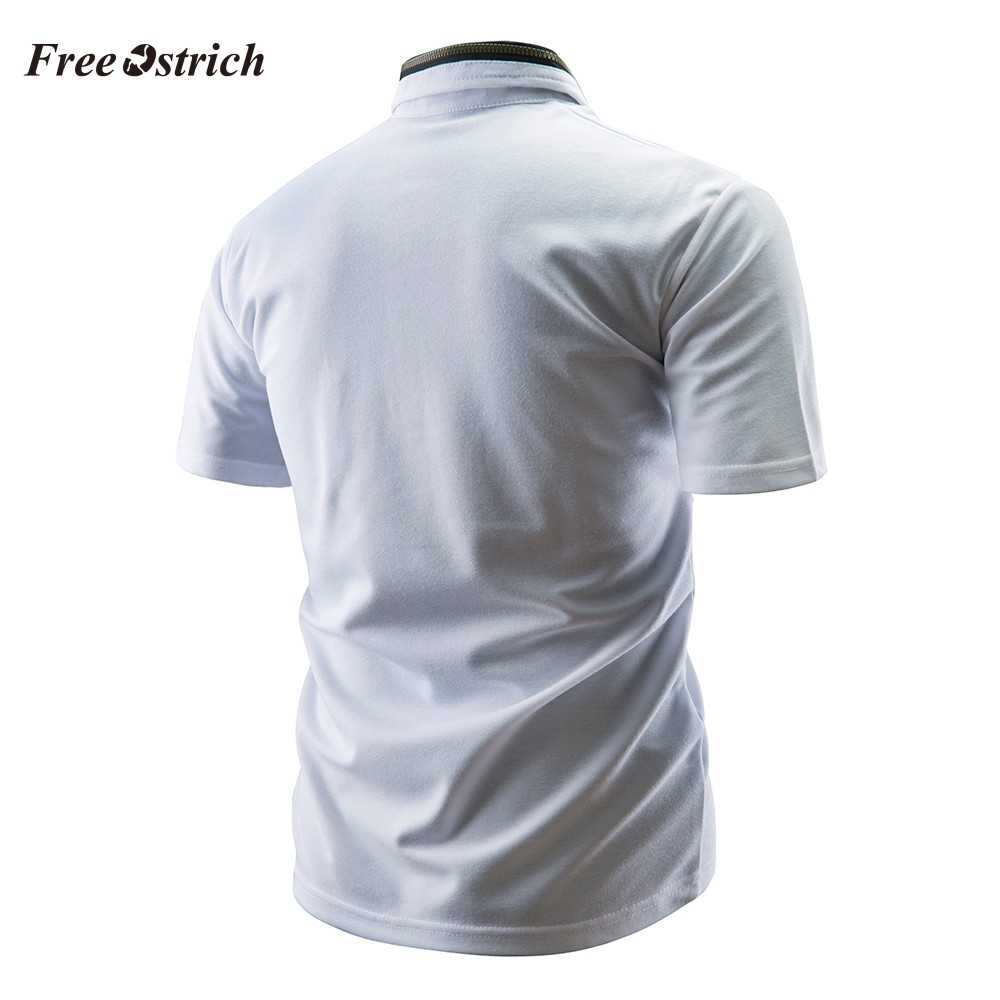 Free Ostrich Men's Stitching Polo Shirt Short Sleeve Slim Shirts Breathable Blouse Solid Polo For Business Men Hot Sales