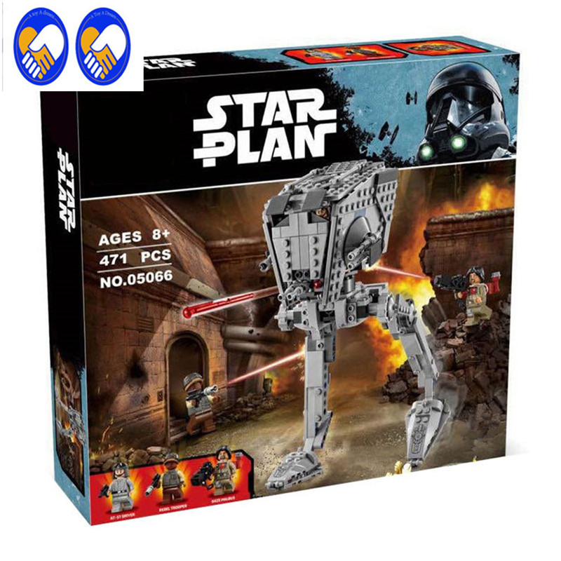 A Toy A Dream LEPIN 05066 Star Wars series The AT-ST Walker Model Building Blocks set classic Compatible 75153 Toys for children a toy a dream lepin 02043 stucke city series airport terminal modell bausteine set ziegel spielzeug fur kinder geschenk junge
