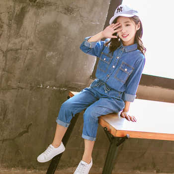 Children Girls Clothing Denim Shirts with Blue Jeans 2pcs Sets School for Girls Clothes Sets 6 8 10 11 12 Years Fall Spring 2019
