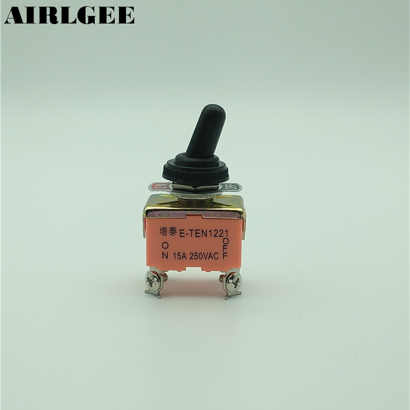 15A/250VAC on/off 2 Way 4 Screw Terminals DPST Toggle Switch w Waterproof Boot