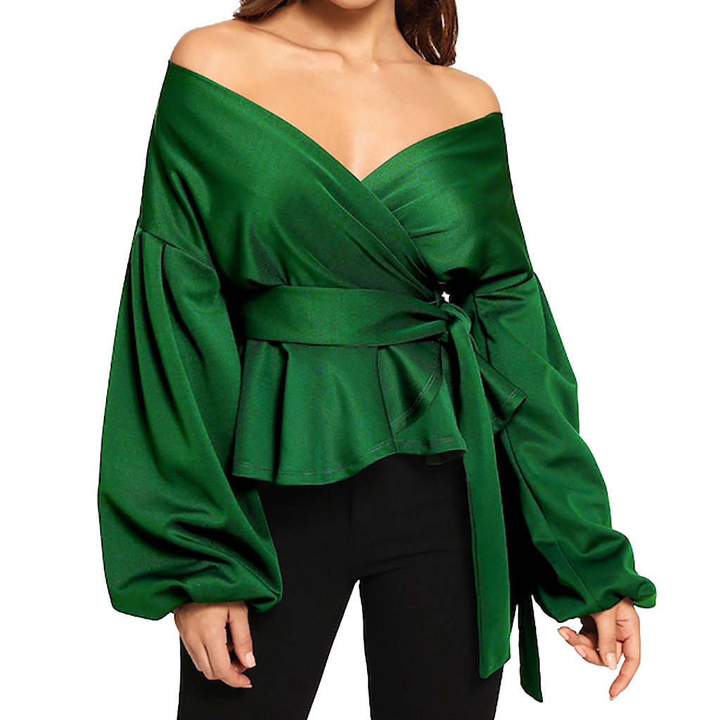 Ingenious Streetwear Womens Tops And Blouses Summer 2019 Long Sleeve Strapless V-neck Lantern Sleeve Bow Belt Bandage Tops Chemise Femme Durable In Use Back To Search Resultswomen's Clothing