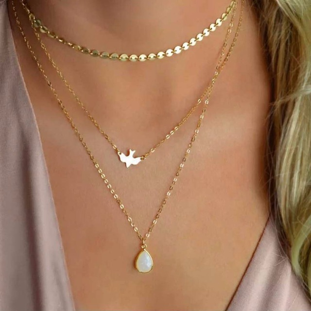 1 Pc New Bohemian Peace Pigeon Water Drop Opal Pendant Necklace Multi-Layer Chai