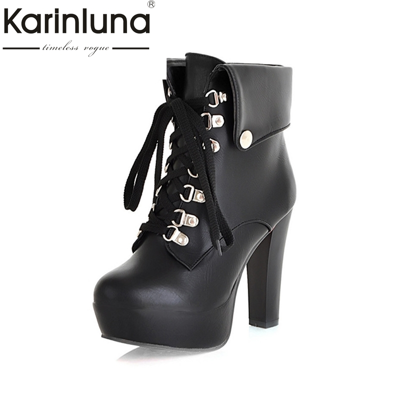 2017 Fashion Women High Heel Ankle Boots Vintage Lace Up Wrapped Platform Shoes Autumn Spring Motorcycle Boots Big Size 34-43 new spring autumn women boots black high heels thick heel boots lace up platform ankle boots large size 34 43