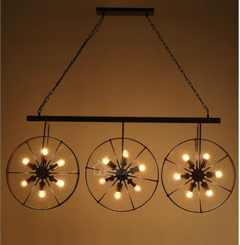 Vintage Loft Retro Industrial American Country Wrought Iron Wheel Metal Pipe with warm E27 Pendant Light for Restaurant Bar