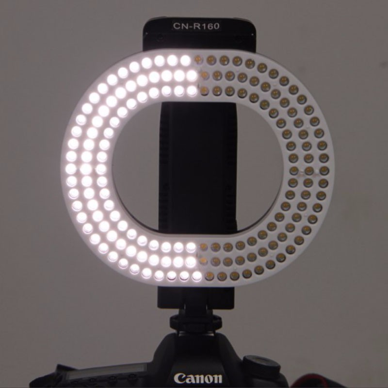 NanGuang CN-R160 LED Video Light 5600K/3200K Independent dimming ring LED light for Canon Nikon Sony DSLR DV Cameras nanguang cn r640 cn r640 photography video studio 640 led continuous ring light 5600k day lighting led video light with tripod