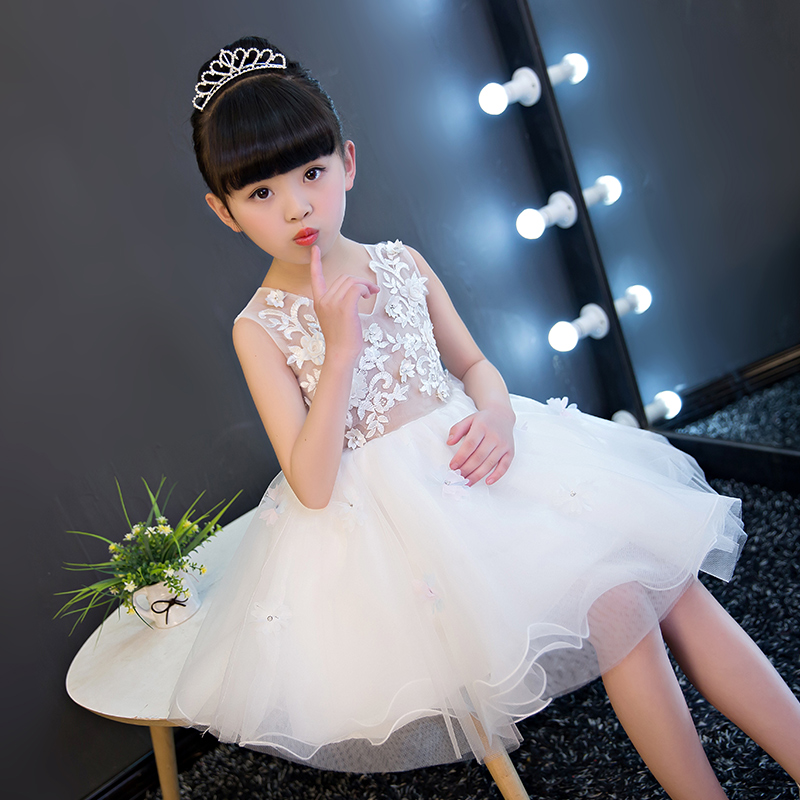 Girl Party Dress 2017New Girls Birthday Wedding Party Princess White Lace Dresses Kids White Tutu Mesh Costume Children Clothes autumn girls children s kids baby long sleeve lace mesh tutu patchwork basic dresses princess wedding party dress vestidos s5691