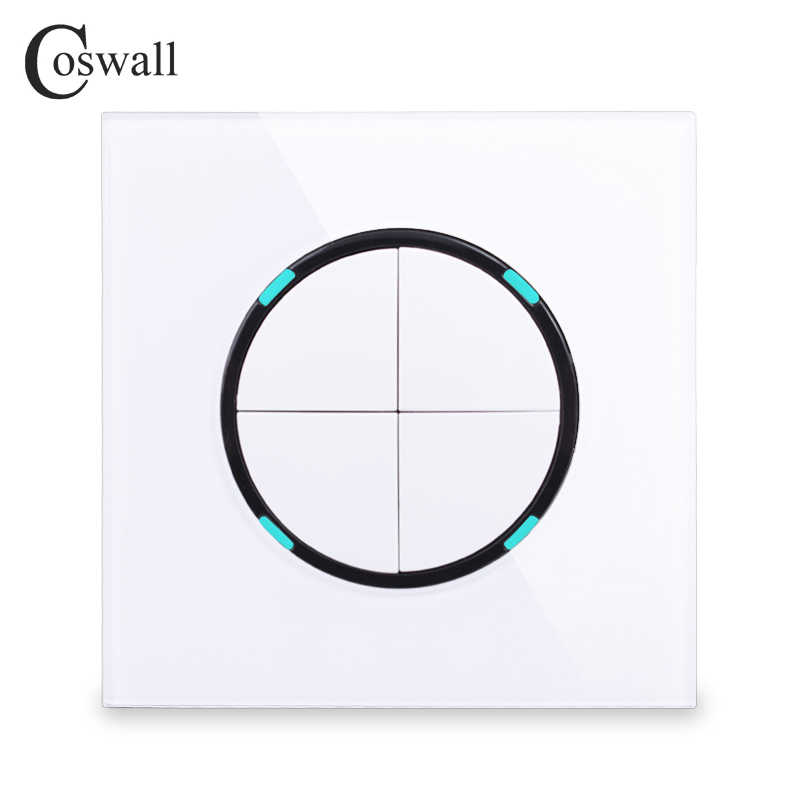 Coswall 2018 New Arrival 4 Gang 2 Way Crystal Glass Panel Random Click On / Off Wall Light Switch With LED Indicator
