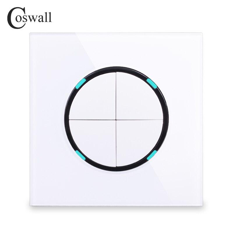 Coswall 2018 Neue Ankunft 4 Gang 2 Weg Kristall Glas Panel Gelegentliche Klicken Sie Auf/Off Wand Licht Schalter Mit led-anzeige