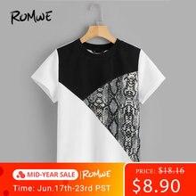 ROMWE Cut-And-Sew Short Sleeve Tee 2019 Black And White Short Sleeve Tees Women Snakeskin Print Summer Round Neck T Shirt
