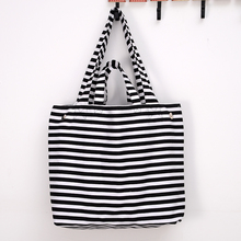 2019 Canvas Fashion Thickening Women Black and white stripes Shoulder Bag Shopping Tote Flax Cotton Shopping Bags Maximal
