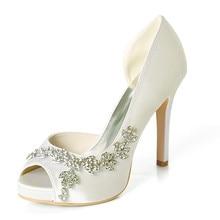 Rhinestone Embellised D orsay Peep Toe Ivory White Purple Satin Platform Bridal  Wedding Shoes Evening c459e8b0fca8