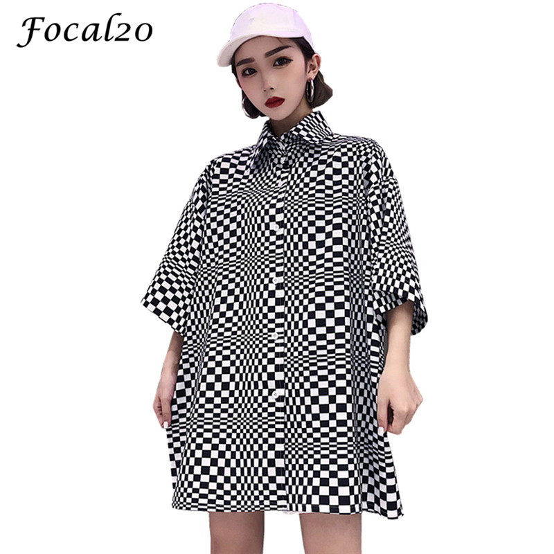 Focal20 Streetwear Checkerboard Oversize Women   Blouse     Shirt   Spring Deformed Plaid Short Sleeve Oversized Female   Blouse   Top