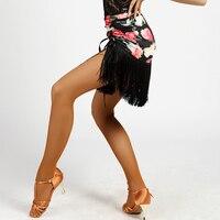 2017 New Latin Dance Skirt Flower Printing For Women Cha Cha Dancing Show Ladies Theatrical Dance