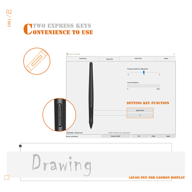 GAOMON ArtPaint AP40 Wireless Art Stylus Rechargeable Pen for Digital Drawing Display PD1560