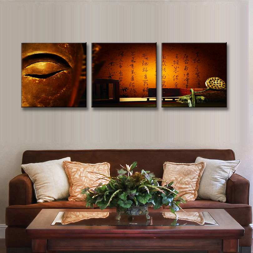 3 pcs set framed still life buddha eyes painting on canvas abstract buddha and sutra letter. Black Bedroom Furniture Sets. Home Design Ideas