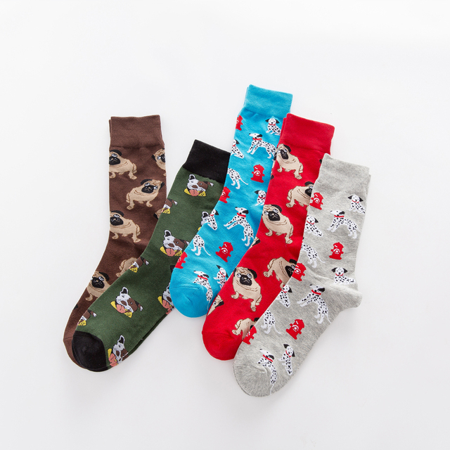 Jhouson 1 pair Colorful Men's Combed cotton Funny Socks Novelty Casual Dog Pattern Crew Skateboard Socks For Wedding Gifts 4