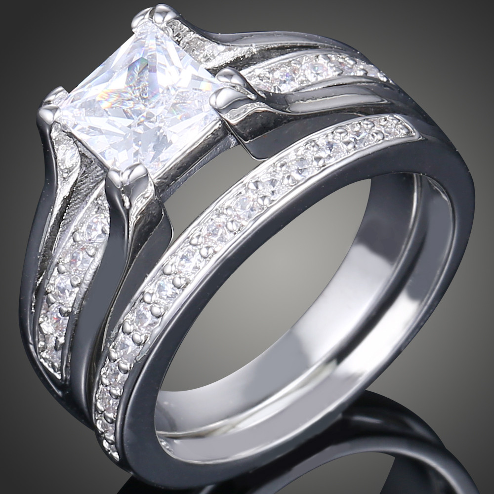 2017 New Fashion 2 Pcs Aaa Cubic Zirconia Love Style White Gold Color His  And Hers Promise Engagement Wedding Ring Sets J01931