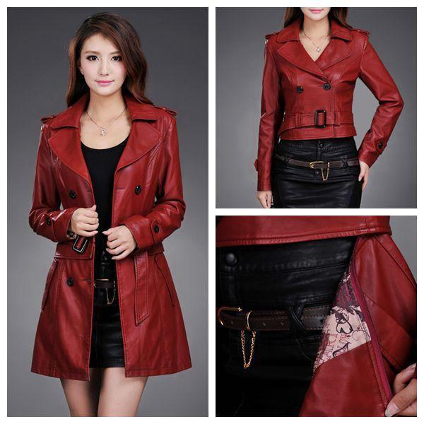 Leather Jacket Women Top Fashion New Winter Slim Dual Use Pu Removable Ladies Faux Synthetic Long Leather Trench Coat Female