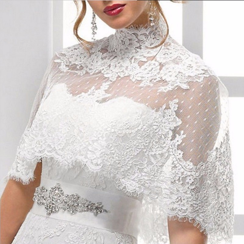 2017 free shipping high neck lace bridal wedding jacket for Dress jackets for wedding
