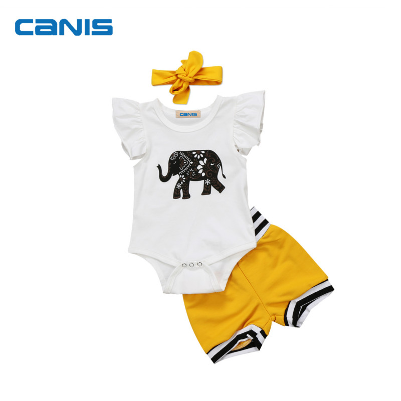 Adorable Summer Cute Cotton Fashion 3Pcs Newborn Baby Girl Tops   Romper   Shorts Bottoms Outfits Set Clothes 0-18M
