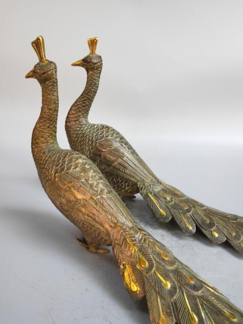Chinese pure bronze peacock statue a pairChinese pure bronze peacock statue a pair