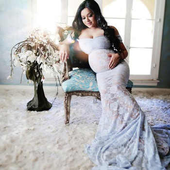 New Sexy Maternity Dresses For Photo Shoot Lace Maxi Maternity Gown Clothes For Pregnant Women Pregnancy Dress Photography Props