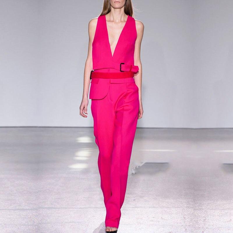 L'été Printemps Rouge Tempérament Sans Et Le Débardeur Mode De Femme Manches Costume Pantalon Col Nouveau 2016 Ensemble Slim V Europe qtwxAF5w