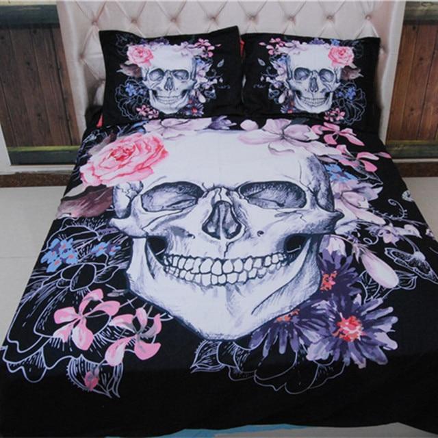 Skull Bedding Set Flower Duvet Cover Europe Style Cartoon Queen King Size Sugar Black