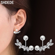 SHDEDE White Imitation Pearl Earrings For Women Fashion Jewelry Cubic Zirconia Accessories Valentine's Day Gift *+WHG31 shdede white 7