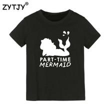 Детская футболка с буквенным принтом «русалка» футболка для мальчиков и девочек, детская одежда для малышей Забавные футболки, Прямая поставка, Y-37