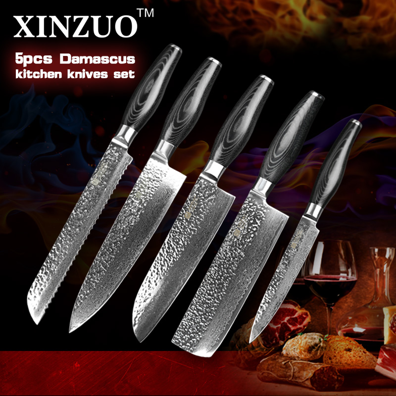 5 pcs kitchen font b knives b font set Japanese VG10 Damascus steel kitchen font b